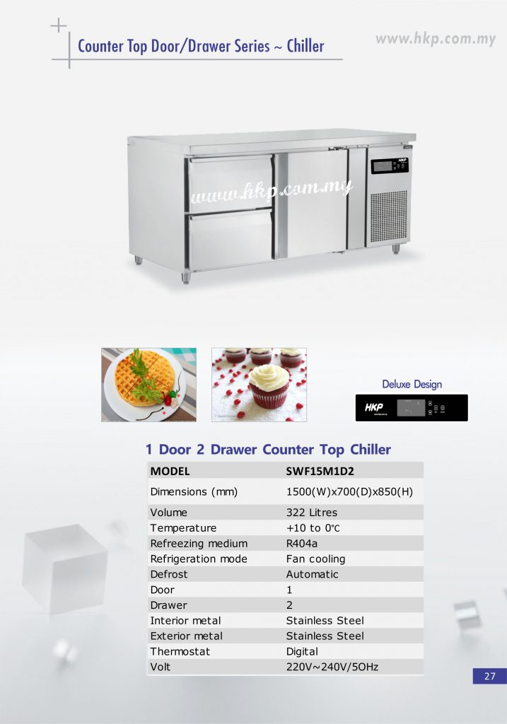 Counter Top Chiller - 1 Door 2 Drawer