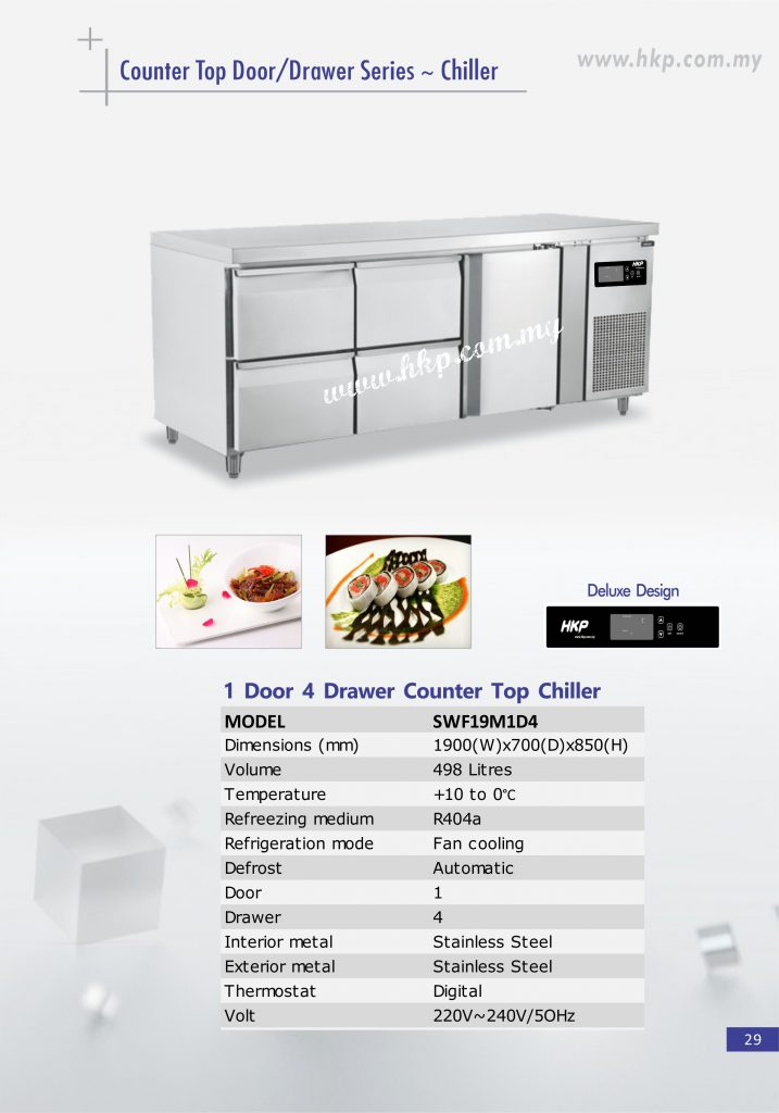 Counter Top Chiller - 1 Door 4 Drawer