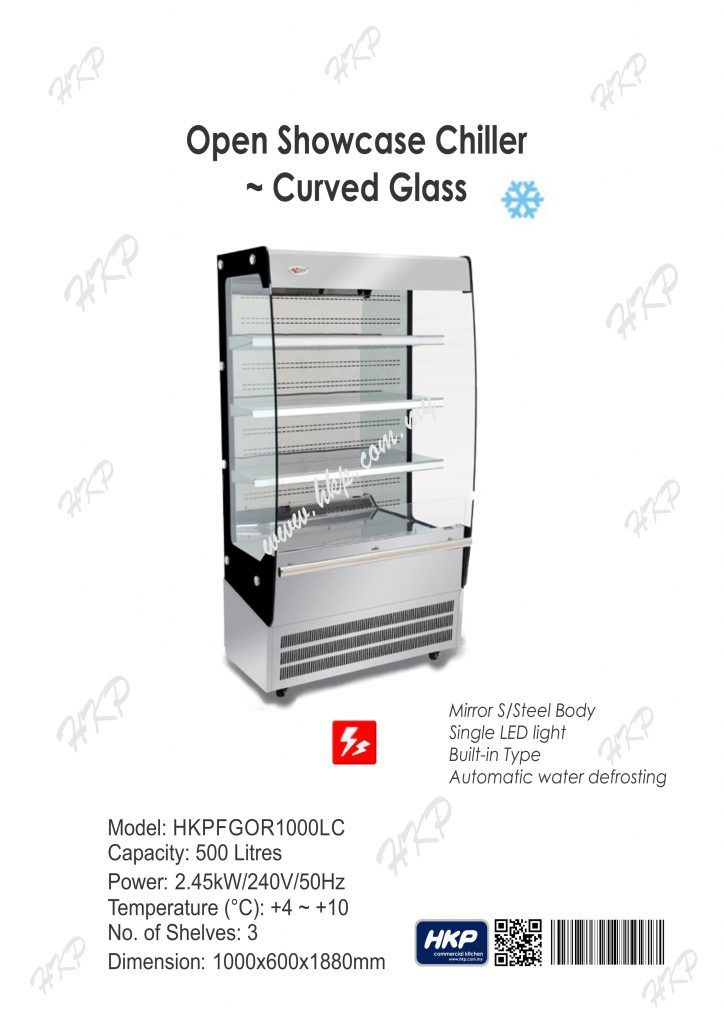 Open Showcase Chiller-Curved Glass